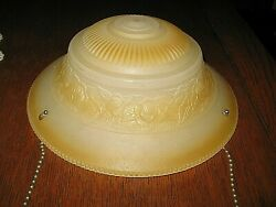 Vintage Deco Glass Hanging Shade for 3 Chain Ceiling Light YELLOW TAN 10.5quot;X 5quot; $19.99