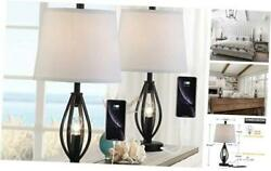 Modern Farmhouse Table Lamp Sets of 2 with 2 USB Ports Pulg in Industrial Black $145.56