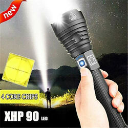 XHP90 LED Flashlight Brightest Zoom Torch USB 26650 Rechargeable Zoom Flashlight $29.99