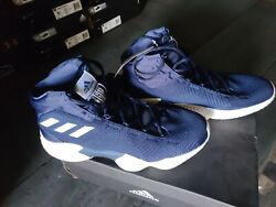 Adidas Pro Bounce 2018 Men#x27;s Basketball Mid Shoes Navy White New in Box $39.95