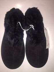 NWT Sears Inkedamp;Faded Genuine Suede Fur Lined Clog Slippers Women#x27;s Large 10 11 $29.99
