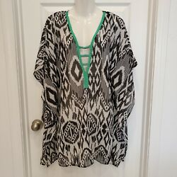Club Z Collection Womens Cover Up Tunic Top Beaded Black Aztec Print Size L XL $26.99
