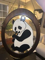 Vintage Wall Hanging Hand Painted Panda On Glass $75.00