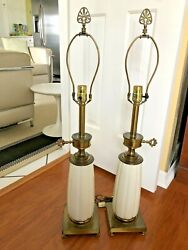 Pair STIFFEL Lamps Hollywood Regency Cream Porcelain and Brass Neoclassical $153.00