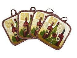 Set of 4 Pot Holders for Kitchen Wine Three Bottles 7 x 7 inches $11.99