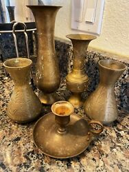 Antique brass candle Holder and Small Vase Set $250.00