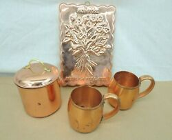 COPPER KITCHEN BARWARE 2 MUGS CANISTER w LID PRIMROSE TART TRAY FOR WALL ART $26.99