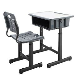 Student Desk and Chair Set Height Adjustable Children School Study Desk Gray $88.85