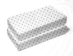 Zak amp; Zoey Gray Star Toddler Bed or Crib Sheets 2 Pack 100% Cotton $14.99