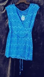 Hotouch Womens Cover Up Lace amp; Tassel Size Large Blue 11048 $4.29