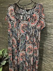 2X Plus Maxi Dress Floral Paisley Short Sleeve Stretch Sami And Jo #95 $28.99