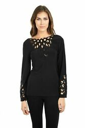 Joseph Ribkoff Black Sequin Cutout Detail Reversible Long Sleeve Top 161996 NEW