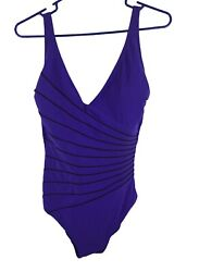 Gottex Swimsuit Bathing Women Size 12 Purple W Black Piping One Piece $24.00