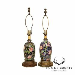 Vintage Floral Pottery Vase Pair Table Lamps $595.00