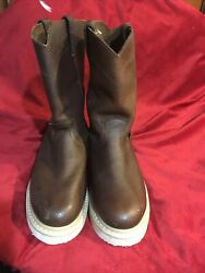 Justin Screwdriver Brown Leather Oiled Work Cowboy Boots WK4906 Men#x27;s Size 8 W $45.00
