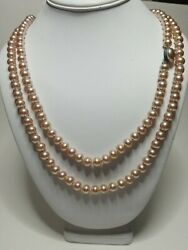 Vintage Glass Hand Knotted Opera Flapper 34quot; Strand of 7.5mm Pearls Necklace $23.99