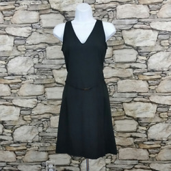 Kenneth Cole Womens Black Cocktail Dress Size 2 Sleeveless Belted Zippered Back