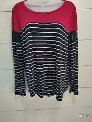 Maurices 24 7 L Red amp; black long sleeve white striped shirt with lace detail...