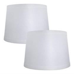 Double Medium Lamp Shades Set of 2 Alucset Drum Fabric Lampshades for Table and $28.97