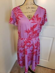 NWT Old navy A Line fit and flare midi Summer V Neck Floral Dress Size large $14.99