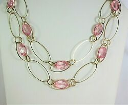 Vintage glass multi strand chained necklace 19quot; gold tone $5.99