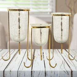 Brass Crackled Glass Holder Set of 3 Candle Stand Coffee Mantle Decor $24.43