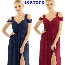 US Women Off Shoulder Chiffon Flowy Long Maxi Bridesmaid Formal Party Gown Dress $8.32