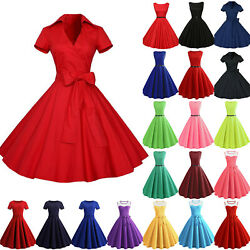 Vintage Women 50s 60s Rockabilly Hepburn Pinup Swing Dress Evening Party Gown XL $23.19