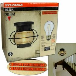 Essex Cage Vintage Glass Ceiling Dimmable Light Fixture LED Bulb Included Lamp $29.39