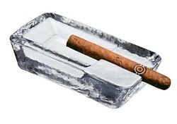 Pasabahce Large Heavy Glass Cigar Ashtray Outdoor For Patio