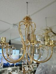 crystals chandelier gold finish 6 lights 24quot; high x 22quot; w display item most go $175.00