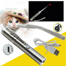 USB Charging Red Laser Pointer Pen Cat Pet Toy Rechargeable UV Flashlight $8.76