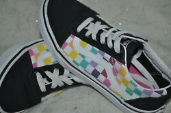 VANS Off the Wall Girls Black Multi Color Checkerboard Shoes SIZE 2 $29.78