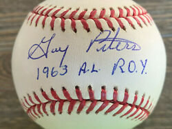 Gary Peters autographed offical AL Baseball inscribed quot;1963 A.L. R.O.Y.quot; $49.00