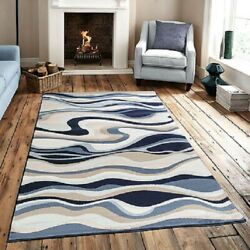 Contemporary AREA RUG Blue Brown White Carpets Abstract Large Rugs Sale New $179.99