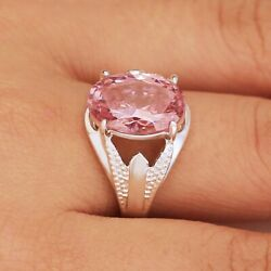 Oval Cur Pink Sapphire Jewelry for Women Anniversary 925 Silver Rings Size 6 10