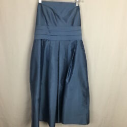 Ann Taylor Strapless Cocktail Formal Party Dress Size 10 Blue 100% Silk $23.99