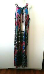 WOMEN#x27;S MLLE GABRIELLE MULTICOLOR PRINT SLEEVELESS LONG MAXI DRESS PLUS SIZE 2X $24.99