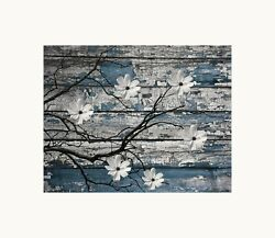 Blue Gray Modern Rustic Bedroom Bathroom Photography Matted Artwork Picture $19.99