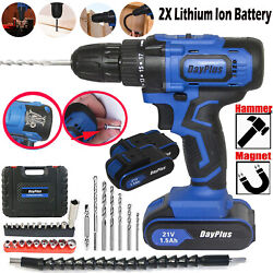 Cordless Drill Driver21V 45Nm Compact Electric Drill Cordless Set 2x Batteries $66.66