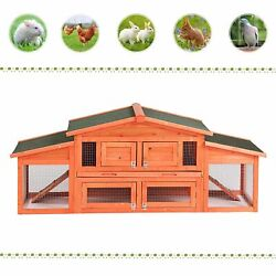 71quot; Large Wooden Backyard Chicken Coop Hen House Cage Rabbit Hutch w Tray Ramp $189.99