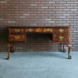 Desk Writing Desk Vintage Desk Traditional Mahogany Leather Top Desk $2095.00