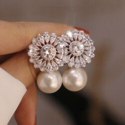 Cute 925 Silver Jewelry Drop Earrings for Women White Pearl Wedding Gifts A Pair C $4.15