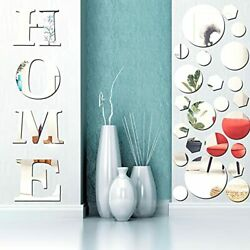 30 Pieces Removable 3D Acrylic Mirror Wall Stickers Home Mirror Wall Decor Ru... $30.78