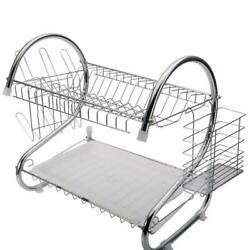 2 Tiers Kitchen Storage Drying Rack Drainer Dryer Tray Dish Cup Holder $16.99