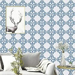 17.7quot;x118.1quot;Blue Contact Paper White and Blue Wallpaper Removable Waterproof $39.99