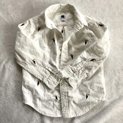 Boys Size 4 Janie And Jack Embroidered White Button Down Collared Shirt Spring $10.25