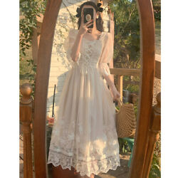 French Style Fairy Dress Sweet Square Collar Women Elegant Summer White Party $29.99