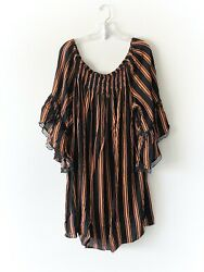Women#x27;s Plus Size Black Dress quot;Orange Stripesquot; Sizes 1X 2X 3X NWT