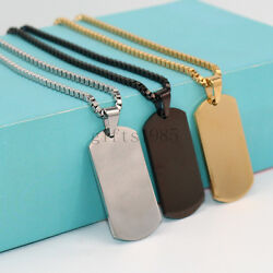 Charming Stainless Steel Silver Gold Black Jewelry Mens Dog Tag Pendant Necklace $7.59